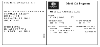 sample blue cross health insurance card
